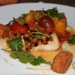 Mahi Mahi – grilled mahi mahi, eggplant puree, slow cooked heirloom tomatoes, country olives