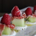 Meló - melon, yogurt, raspberries, grated manchego cheese, jamón ibérico