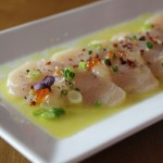 Wahoo Crudo - lemon vinaigrette, apple purée, trout roe