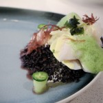 Grouper Cheeks - black rice, shoyu hollandaise, sea lettuces