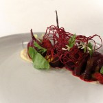 Beet A L'Orange - honey comb miso, purple carrot, local cheese, arugula