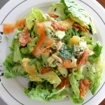 Chinese Chicken Salad made with little gem lettuce, herbs, avocado, citrus and almonds