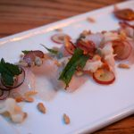 Lychee Grape Tiradito - cobia, lychee, grape, sunflower seeds & mint