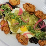 Fried Oyster Rancheros made with Taquiza tortillas