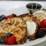 Challah French Toast with berries and salted almonds