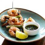 Grilled Shrimp w/ poblano peppers, cilantro, nahm jim talay sauce