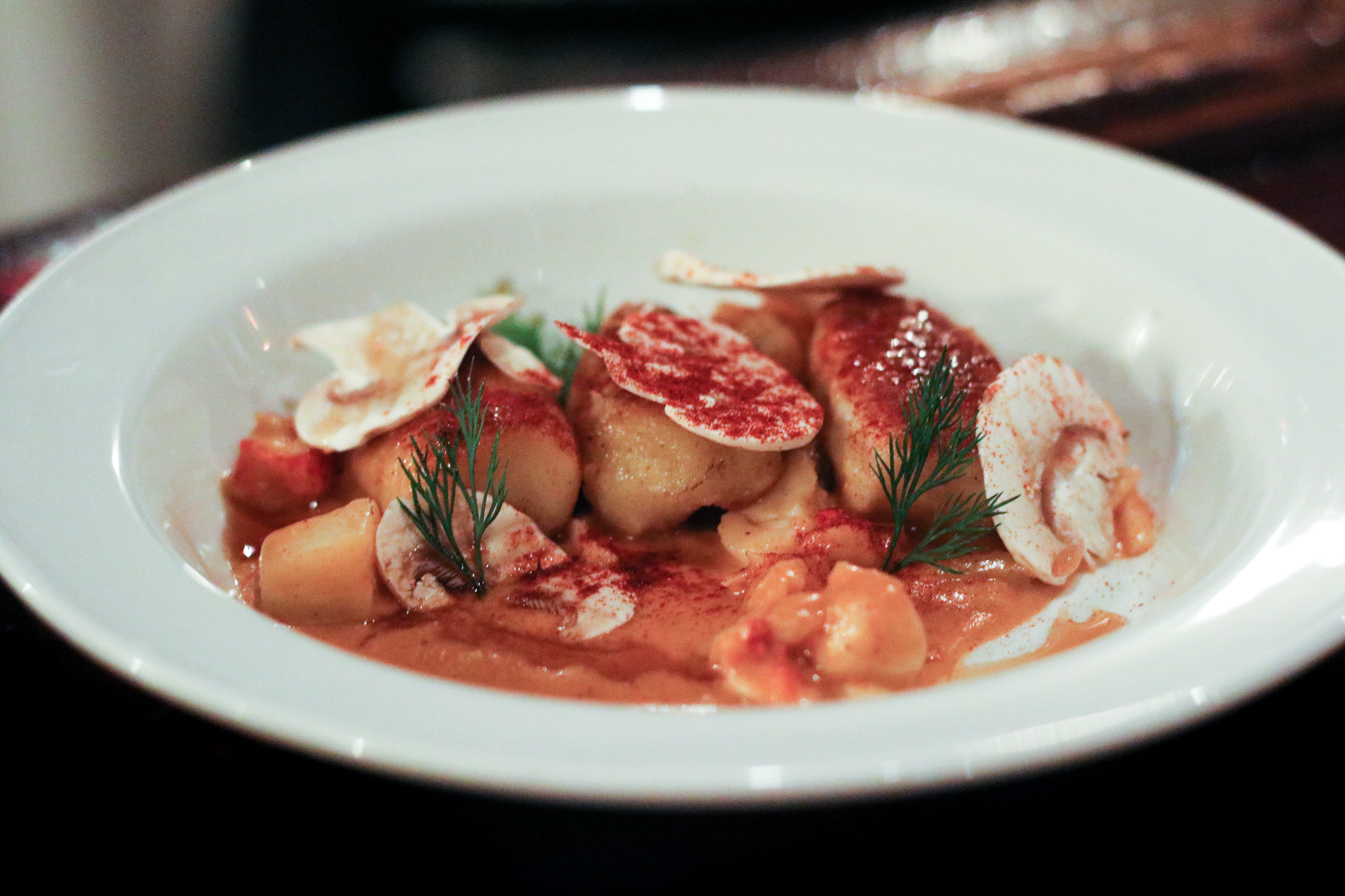 Lobster Newberg with topped with Buttermilk Dumplings, Fennel, and Paprika Bourbon Agrodolce